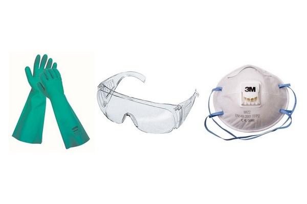Перчатки, очки, респиратор